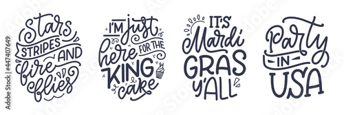 Obraz na plátně Set with funny hand drawn lettering quotes about Mardi Gras
