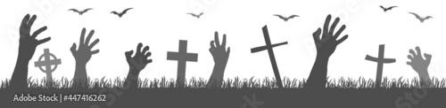 Fotografering halloween zombie hands with grave stones