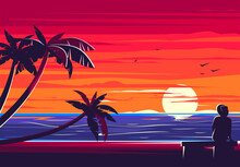 Vector Illustration Of A Silhouette Of A Girl With A Hat Sitting On A Bench On The Beach With Palm Trees On The Background Of The Sea With The Sunset