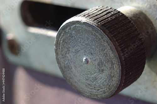 Fotografie, Obraz Close-up of a door latch with a metal handle