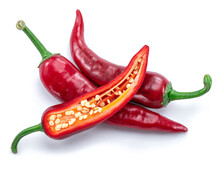 Fresh Red Chilli Peppers And Cross Section Of Chilli Pepper With Seeds Isolated On White Background.