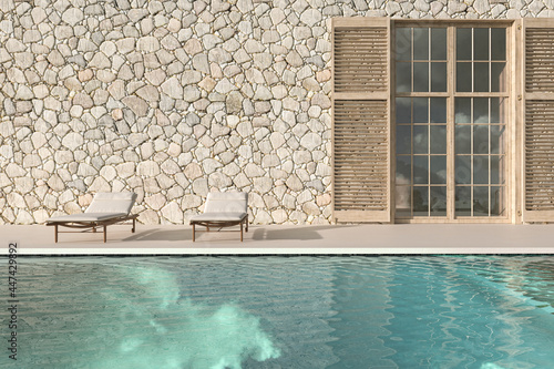 Scandinavian modern design outdoor terrace with chaise lounge and swimming pool Fototapeta