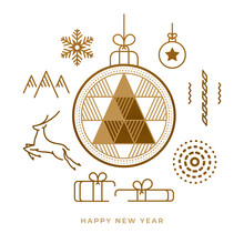 New Year Abstract Flat Line Composition, Geometric Christmas Tree In Toy, Deer And Gifts, Snowflake And Confetti, Fireworks And Mountains Isolated On White. Geometry Golden Triangle, Reindeer