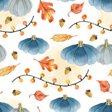 Cozy Blue Pumpkins And Garland Watercolor Seamless Pattern