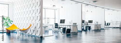 Billede på lærred 3d render image of modern interior office building