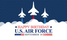 U.S. Air Force Birthday Is Observed Every Year On September 18 All Across United States Of America. Vector Illustration