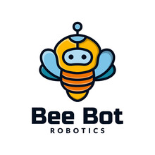 Bee Bot Logo Template. Robotics Logo. Combined The Bee And Robot Icon Concept. Vector Illustration