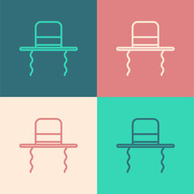 Pop Art Line Orthodox Jewish Hat With Sidelocks Icon Isolated On Color Background. Jewish Men In The Traditional Clothing. Judaism Symbols. Vector Illustration