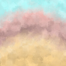 Hand-painted Watercolor Background In Yellow, Beige, Blue. Illustration In Natural Natural Shades