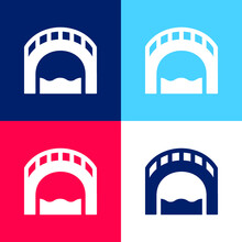 Bridge Blue And Red Four Color Minimal Icon Set