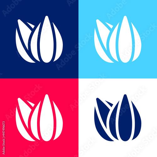 Obraz na plátně Almond blue and red four color minimal icon set