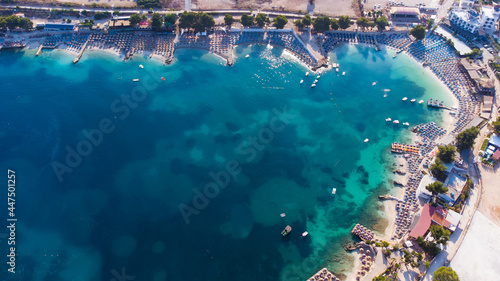 Tela Aerial view from a drone to Ksamil, Albania