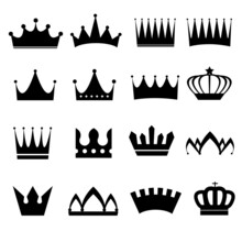 Set Of Vector Crowns Silhouettes Illustration Eps10