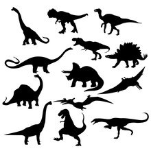 Set Of Silhouettes Of Dinosaurs Vector