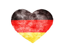 Heart With Flag Of Germany Isolated On White