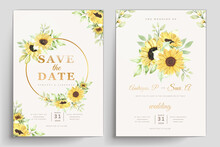 Hand Drawn Watercolor Sunflower Card Set