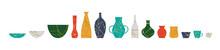 Broken Kintsugi Pottery Jar Vase Collection Isolated