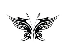 Beautiful Black Butterfly Silhouette On White Background, Butterfly Vector Black White Design Stock