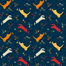 Seamless Pattern With Color Silhouettes Of Cats. Active Cats Jump, Catch.