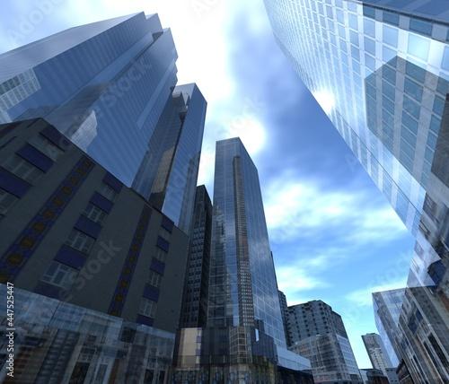 Fototapeta premium Skyscrapers and sky, high-rise buildings bottom view, modern cityscape, 3d rendering