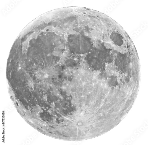 Foto Super Moon with visible craters on  white background