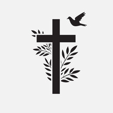 Cross, Funeral Design Element With Flower And Bird. Vector Illustration EPS 10