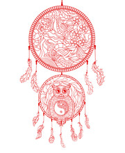 Dreamcatcher With Owl. Hand Drawn American Indians Symbol. Zentangle. Yin And Yang. Religion Symbol