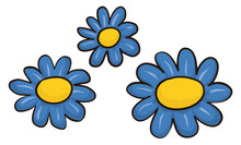 Flowers With Blue Petals And Yellow Discs In Cartoon Style, Vector Illustration