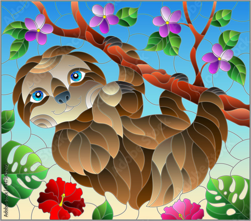 Fototapeta premium An illustration in the style of a stained glass window with a cute cartoon sloth, on a tree branch, a rectangular image