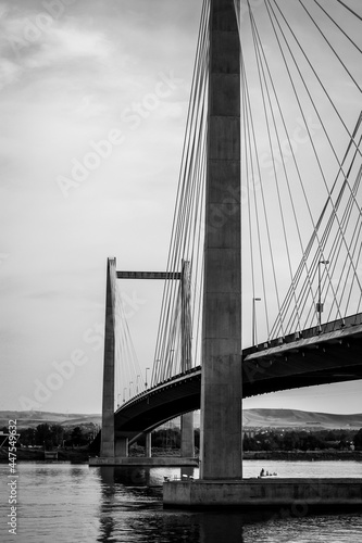 Black and white photo of cable bridge over Columbia River in Washington State #447549632