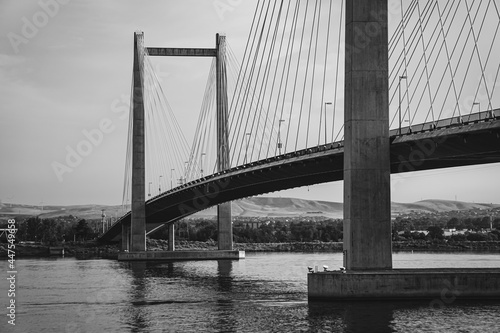 Black and white photo of cable bridge over Columbia River in Washington State #447549658