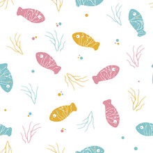 Fish Seamless Vector Pattern. Colorful Cartoon Fishes Pattern. Marine Life Vector Illustration. Blue, Pink And Yellow Fishes Pattern. Flat Style Concept Illustration