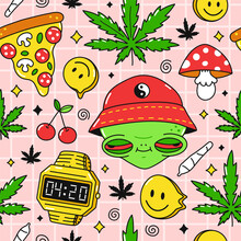 Psychedelic Trippy,pizzz 420 Seamless Pattern. Alien With Red Eyes,4:20 On Clock, Weed Marijuana Leafs. Vector Cartoon Character Illustration Design. Trippy Alien,mushroom,cannabis Pattern Art Concept