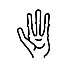 Alien Hand With Four Fingers Line Icon Vector. Alien Hand With Four Fingers Sign. Isolated Contour Symbol Black Illustration
