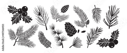 Tela Christmas tree vector branches, fir and pine cones, evergreen set, holly berry icon, holiday decoration, black winter symbols isolated on white background