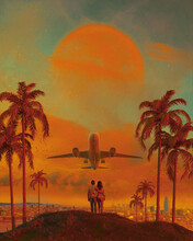 Surreal Summer City Landscape And Couple Watching Future Takeoff