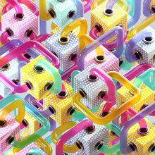 Pop Art Pastel Dot Grid Conected Cube Tube Transfers