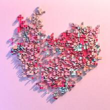 Minimalist Pixelated 8-bit Fractured Heart Flatlay