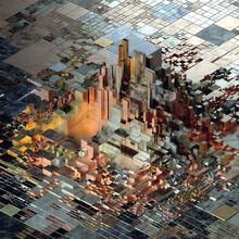 Metal Glow Grid Digital Circuit Urban Complexity Visualization