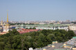 panoramic top view of the historical center of the city and the high spire of the Admiralty on a sunny summer day and a space for copying in Saint-Petersburg