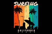 Silhouette Surfing Beach Sunset California Beautiful Retro Style