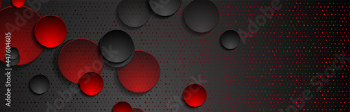 Fotografía Red black abstract geometric background with circles and glitter dots