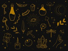 Collection Of Golden Magic Items On A Dark Background. Feathers, Plants, Eyes, Stars, Poison Bottles, Mushrooms, Candle, Insects, Etc. Vector Illustration