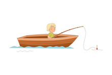 Little Boy Sailing In Boat With Fishing Rod Catching Fish Vector Illustration