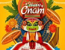 Happy Onam Festival With Kathakali Dancer Snake Boat Elements
