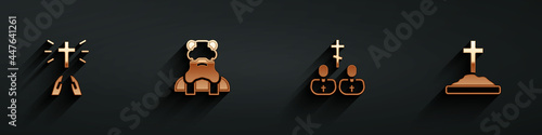Foto Set Hands in praying position, Priest, and Grave with cross icon with long shadow
