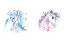 Watercolor Portrait Of A Pink And Blue Unicorn On The Colorful Background