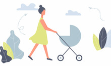 Happy Mother On A Walk With Newborn In Stroller. Woman Pushing Pram With Child In Park. Young Mom With Baby In Pushchair Isolated On White Background In Funky Figures Style. Raster Illustration