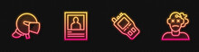 Set Line Walkie Talkie, Police Helmet, Wanted Poster And Murder. Glowing Neon Icon. Vector