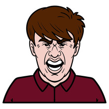 Comic Avatar Of A Man With Angry Expression On His Face.